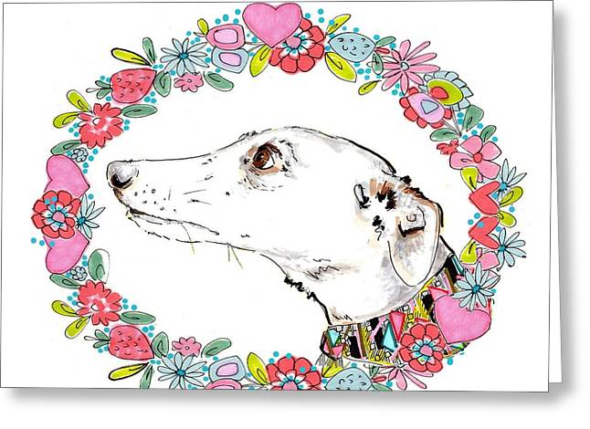 Hound Drawings Greeting Cards - Silvertips Greyhound With Floral Border  Greeting Card by Jo Chambers