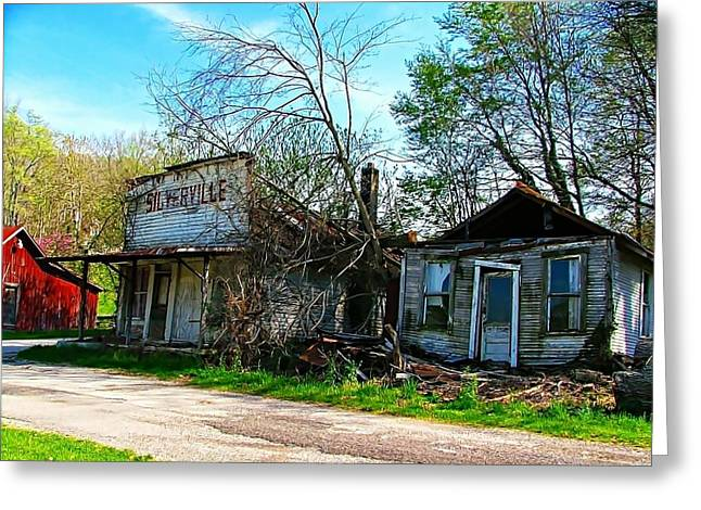 Silverville Ghost Town In Blues Greeting Card by Julie Dant