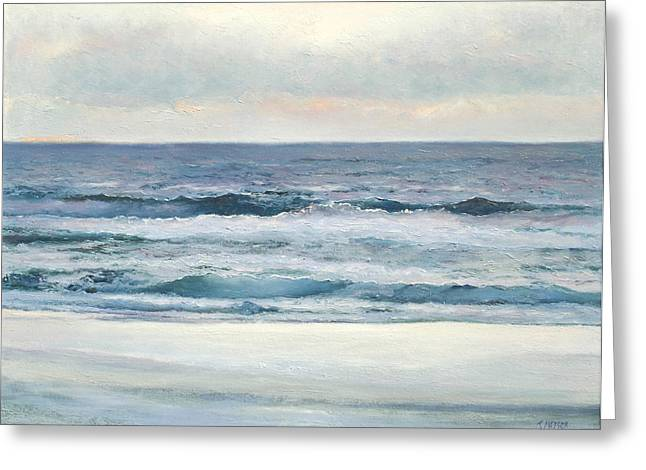 Ocean Art. Beach Decor Paintings Greeting Cards - Silvery Morn Greeting Card by Jan Matson