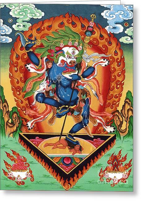 Thangka Greeting Cards - Simhamukha - Lion Face Dakini Greeting Card by Sergey Noskov