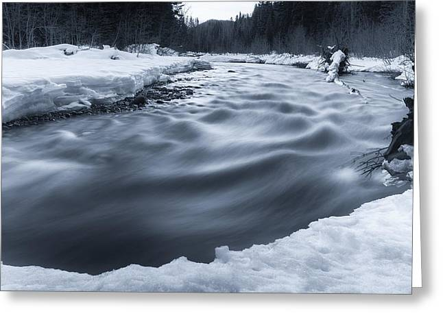 Snowy Night Greeting Cards - Similkameen River Greeting Card by James Wheeler