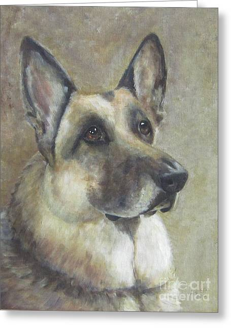 Guard Dog Paintings Greeting Cards - Simon Greeting Card by Elizabeth  Ellis