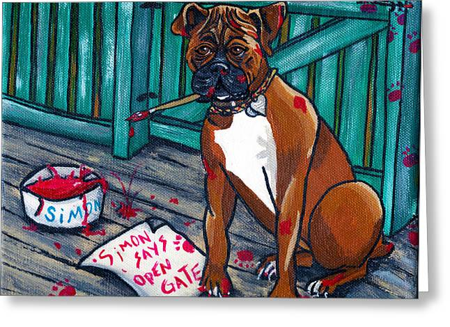Boxer Greeting Cards - Simon Says Greeting Card by Laura Brightwood