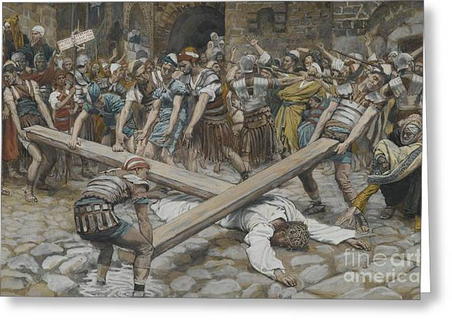 Roman Soldier Greeting Cards - Simon the Cyrenian Compelled to Carry the Cross with Jesus Greeting Card by Tissot