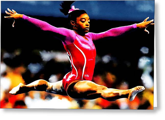 Gold Medals Mixed Media Greeting Cards - Simone Biles Greeting Card by Brian Reaves