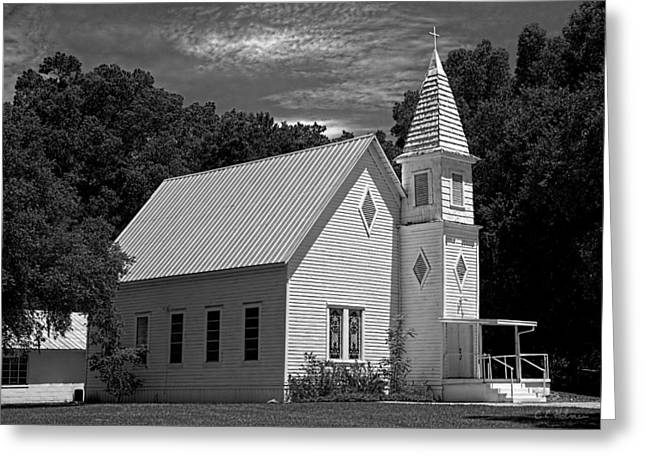 Christopher Holmes Greeting Cards - Simple Country Church - BW Greeting Card by Christopher Holmes