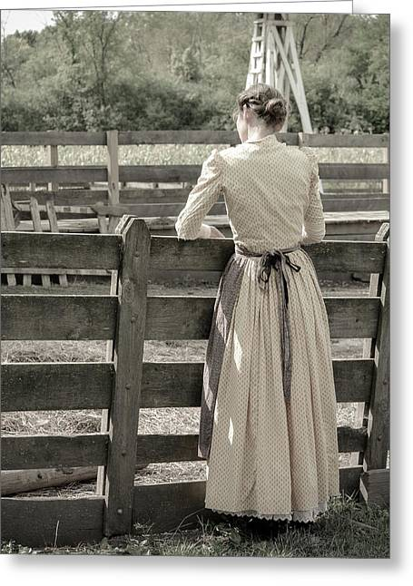 Simple Life Girl On Farm Greeting Card by Julie Palencia