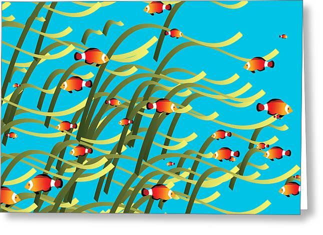 Decorative Fish Greeting Cards - Simple underwater scene Greeting Card by Gaspar Avila