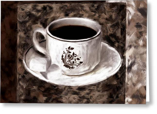 Downtown Cafe Greeting Cards - Simply Aromatic Greeting Card by Lourry Legarde