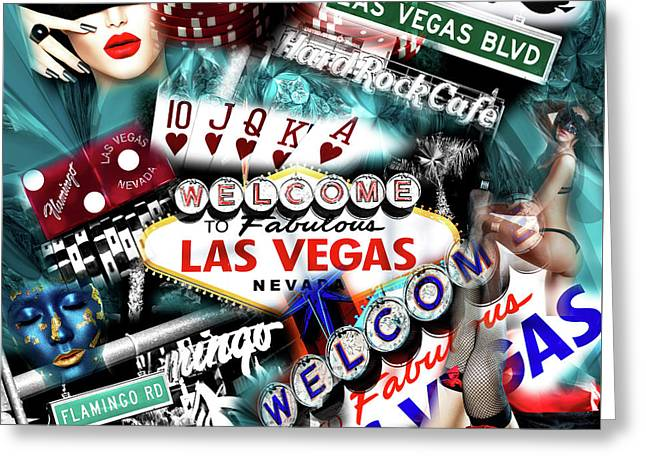 Sin City Greeting Card by John Rizzuto