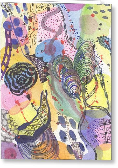 Dots And Lines Paintings Greeting Cards - Sin Nombre Greeting Card by Ivonne Sequera