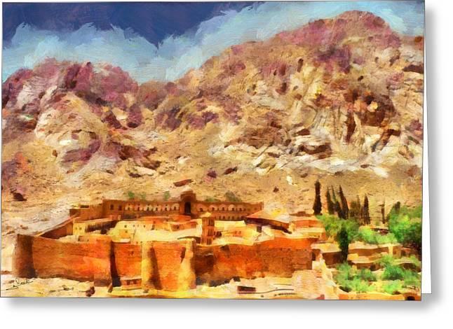 Sinai Monastery Greeting Cards - Sinai Monastery 1 Greeting Card by George Rossidis