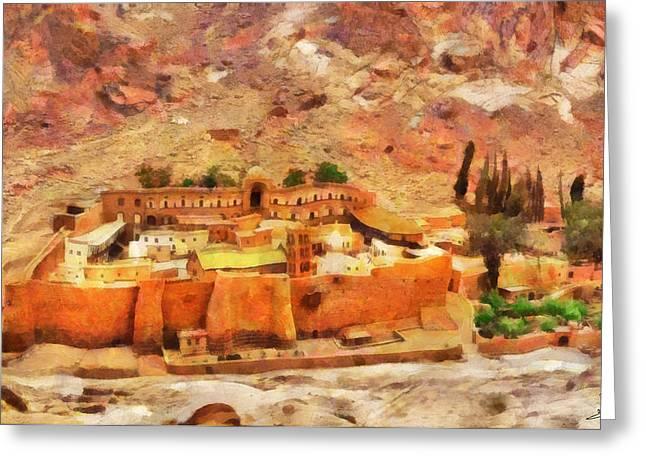 Sinai Monastery Greeting Cards - Sinai Monastery 2 Greeting Card by George Rossidis