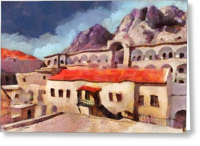 Sinai Monastery Greeting Cards - Sinai Monastery 3 Greeting Card by George Rossidis