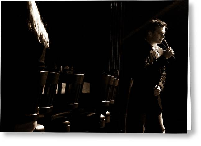 Live Music Greeting Cards - Sinatra Night Greeting Card by Andrew Kubica