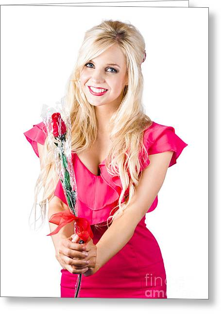Condolences Greeting Cards - Sincere woman saying thank you with flower Greeting Card by Ryan Jorgensen