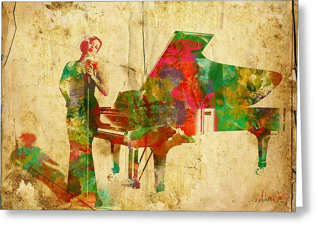 Jazz Pianist Greeting Cards - Sing It Baby One More Time Greeting Card by Nikki Smith