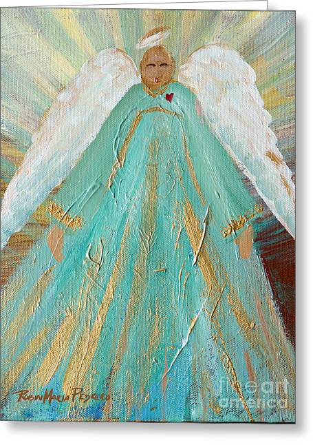 Angel Blues Greeting Cards - Sing Your Heart Out Angel Greeting Card by Robin Maria  Pedrero
