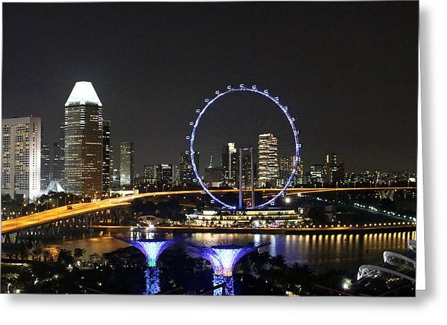 Buildings By The Ocean Greeting Cards - Singapore Eye Greeting Card by Diane Height