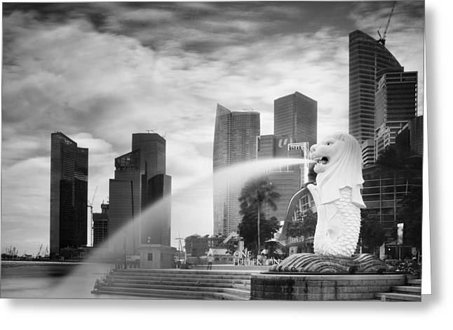Papiorek Greeting Cards - Singapore Harbour Greeting Card by Nina Papiorek