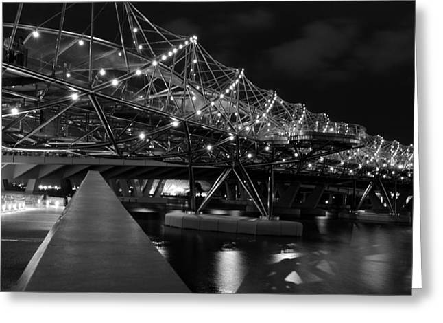 Helix Greeting Cards - Singapore Helix Bridge Greeting Card by Marites Reales