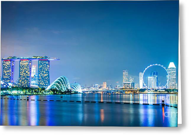 Singapore Greeting Cards - Singapore panorama Greeting Card by Delphimages Photo Creations