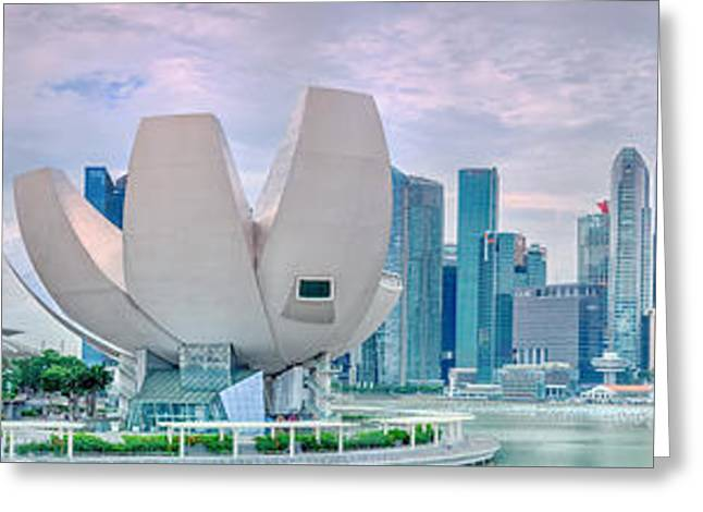Famous Bridge Greeting Cards - Singapore skyline Greeting Card by MotHaiBaPhoto Prints