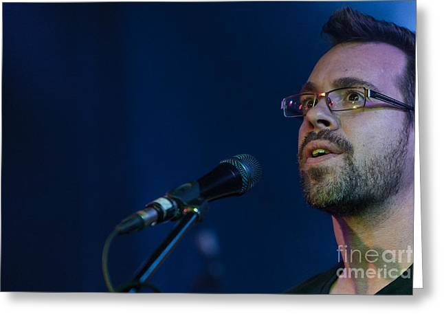 Microphone Stand Greeting Cards - Singer  Greeting Card by Joel  Bourgoin