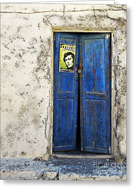 Entrance Door Photographs Greeting Cards - Singin The Blues Greeting Card by Meirion Matthias