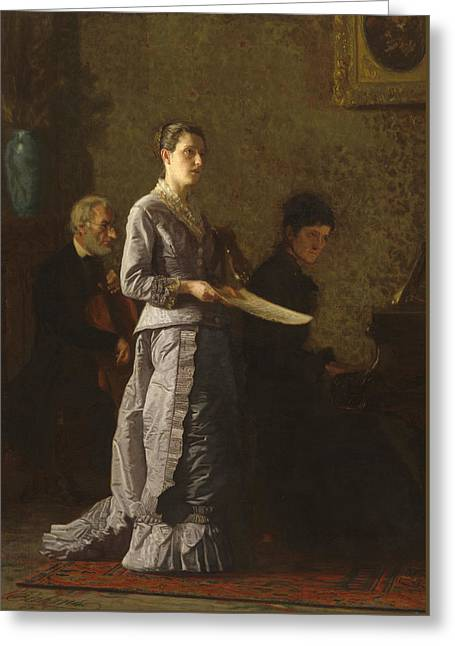 Singing A Pathetic Song Greeting Card by Thomas Cowperthwait Eakins