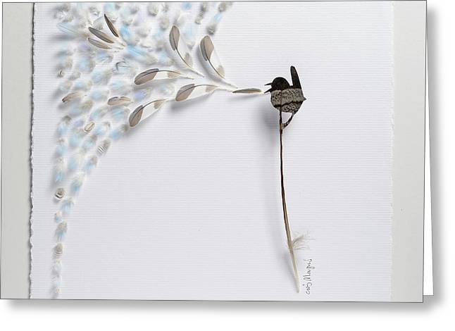 Feather Mixed Media Greeting Cards - Singing Bird 22 Greeting Card by Chris Maynard