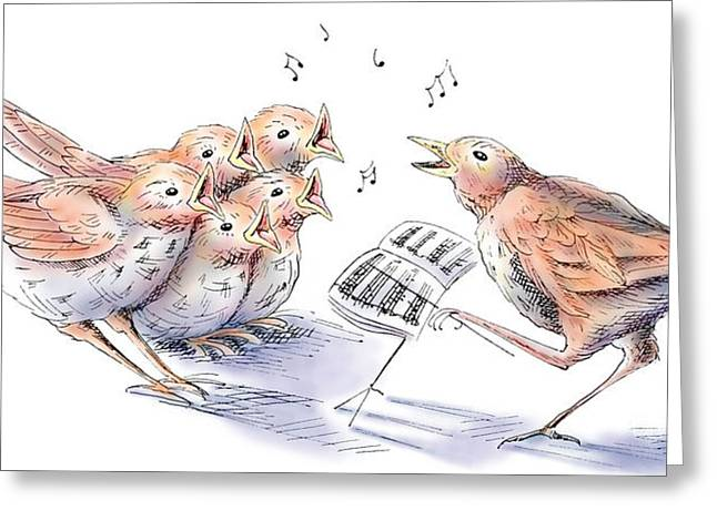 Fledglings Greeting Cards - Singing lessons Greeting Card by Debbie  Diamond