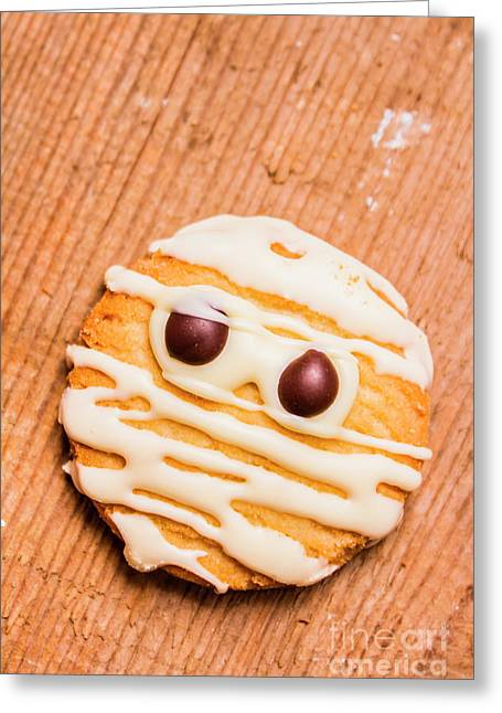Single Homemade Mummy Cookie For Halloween Greeting Card by Jorgo Photography - Wall Art Gallery