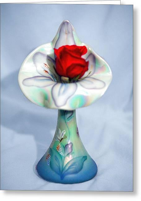 Glass Vase Greeting Cards - Single Red Rose Bud in Fenton Vase Greeting Card by Linda Phelps