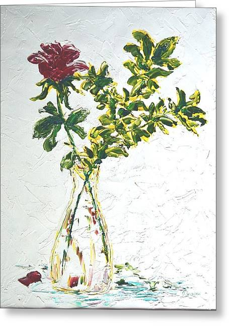 Single Red Rose Greeting Card by Lynda Cookson