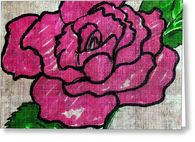 Hand Drawn Greeting Cards - Single Rose Greeting Card by Michelle DeLore