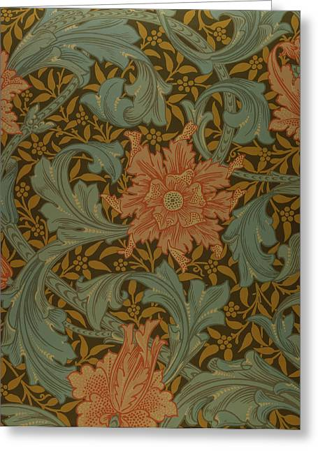 Black Tapestries - Textiles Greeting Cards - Single Stem wallpaper design Greeting Card by William Morris