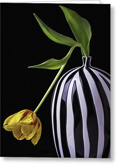 Dewdrop Greeting Cards - Single Tulip In Vase Greeting Card by Garry Gay