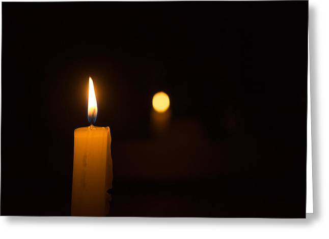 Candle Lit Greeting Cards - Single white candle burning Greeting Card by John Williams
