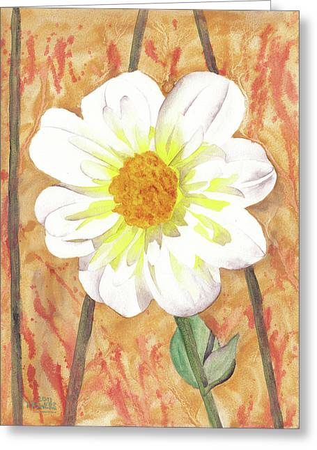 Fanciful Paintings Greeting Cards - Single White Flower Greeting Card by Ken Powers