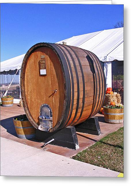 Single Wine Barrel Greeting Card by Marian Bell