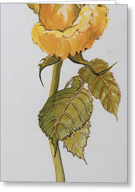 Rose Stem Greeting Cards - Single Yellow Rose Greeting Card by Joan Thewsey
