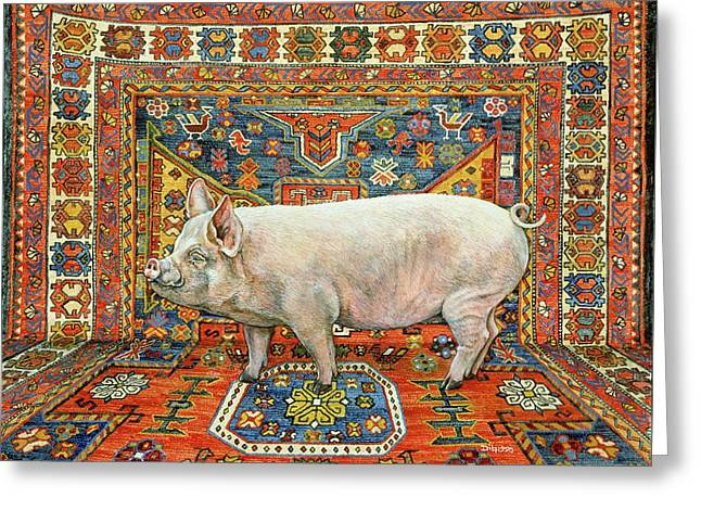 Piglets Greeting Cards - Singleton Carpet Pig Greeting Card by Ditz