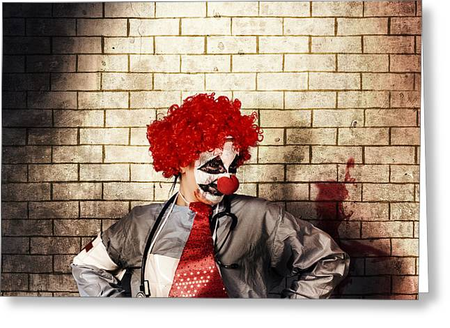 Sinister Gothic Clown Standing On Grunge Brickwall Greeting Card by Jorgo Photography - Wall Art Gallery