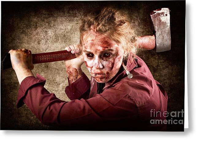 Sinister Zombie Axe Murderer. A Grunge Death Greeting Card by Jorgo Photography - Wall Art Gallery