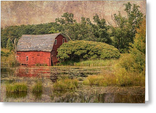 Old Barns Greeting Cards - Sinking Red Barn / Texture Greeting Card by Patti Deters