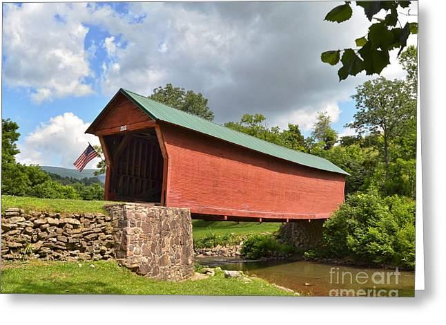 Covered Bridge Greeting Cards - Sinking Creek Covered Bridge - Giles County Virginia Greeting Card by Kerri Farley