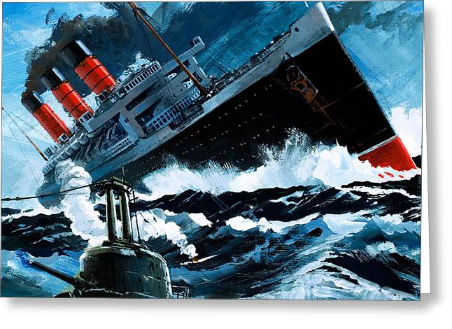 Sinking Of The Lusitania Greeting Card by English School
