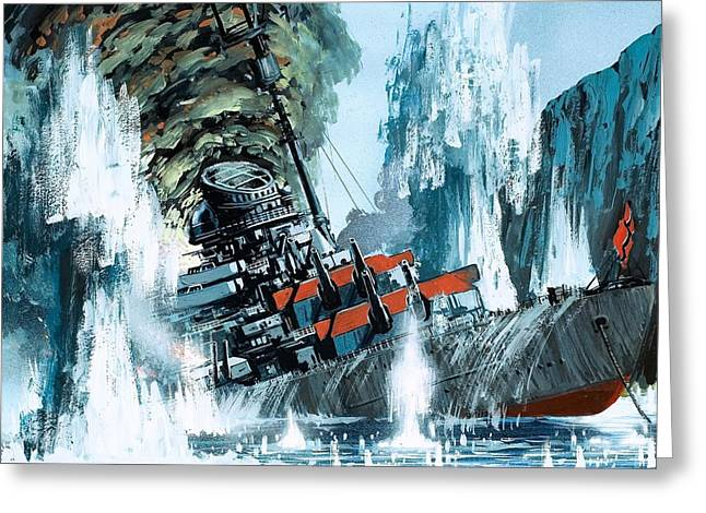 World War Ii Drawings Greeting Cards - Sinking of the Tirpitz Greeting Card by Mike Tregenza