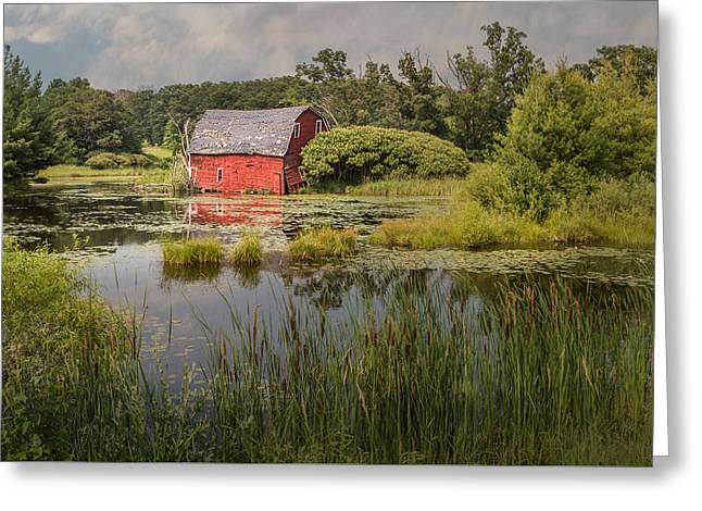 Old Barns Greeting Cards - Sinking Red Barn Greeting Card by Patti Deters